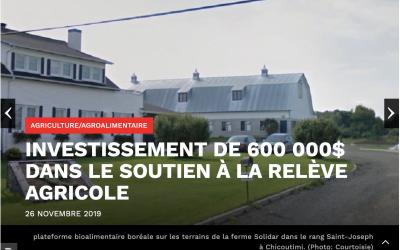 Investissement de 600 000$ dans le soutien à la relève agricole